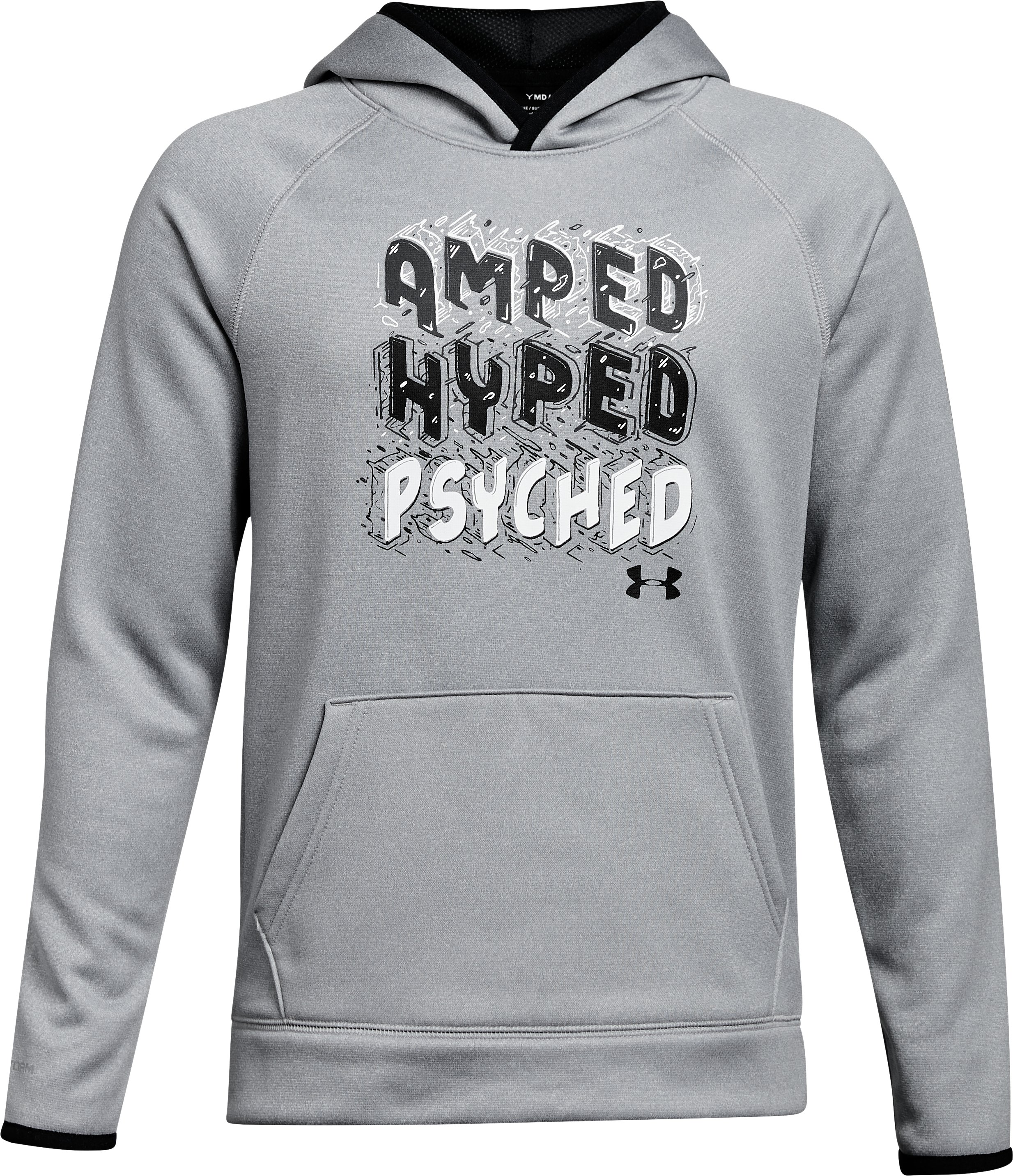 Boys' Armour® Fleece Amped Hoodie, STEEL LIGHT HEATHER, undefined