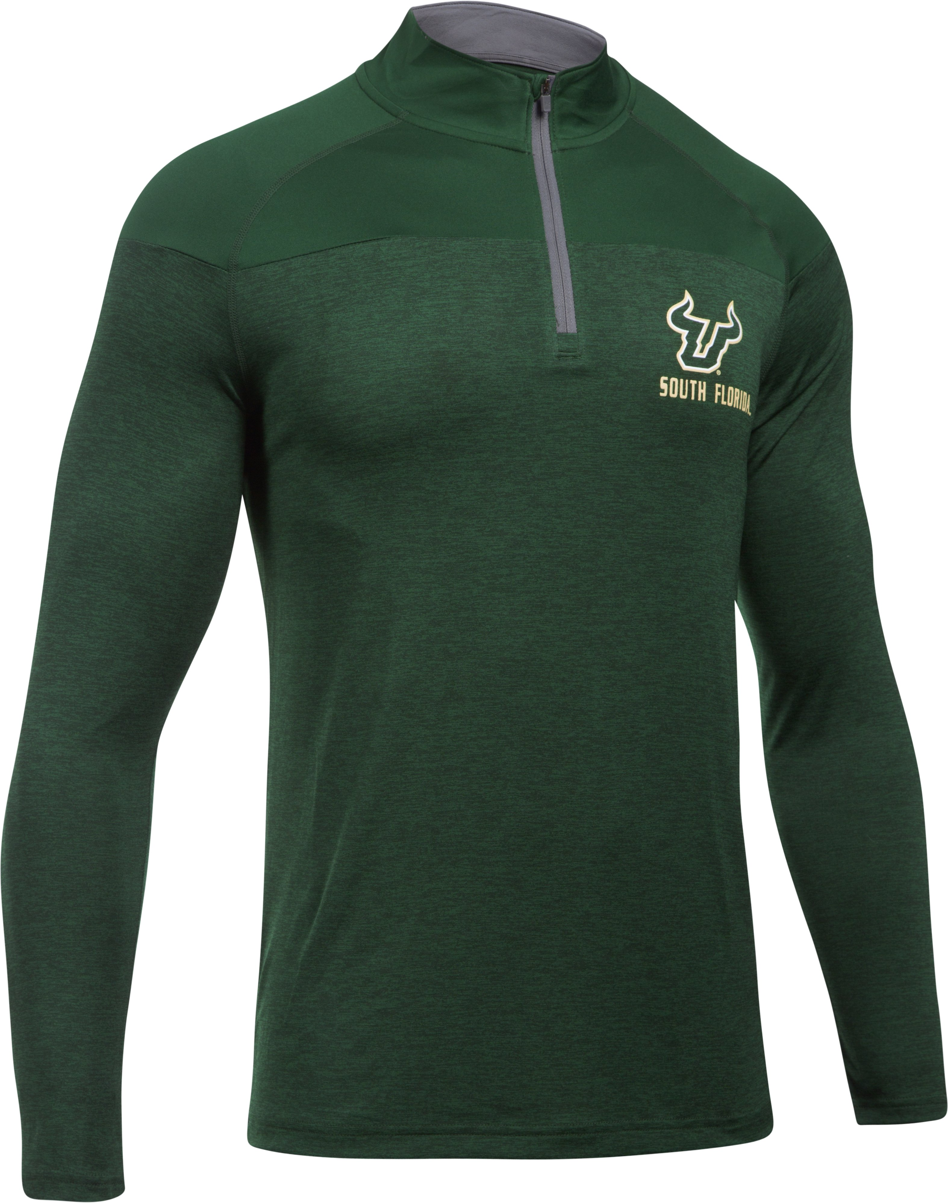 Men's South Florida Printed ¼ Zip, Forest Green,