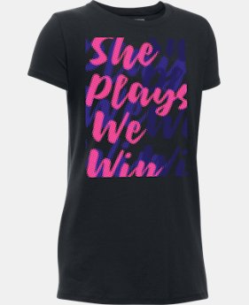 Girls' UA She Plays We Win Repeat T-Shirt  1 Color $19.99