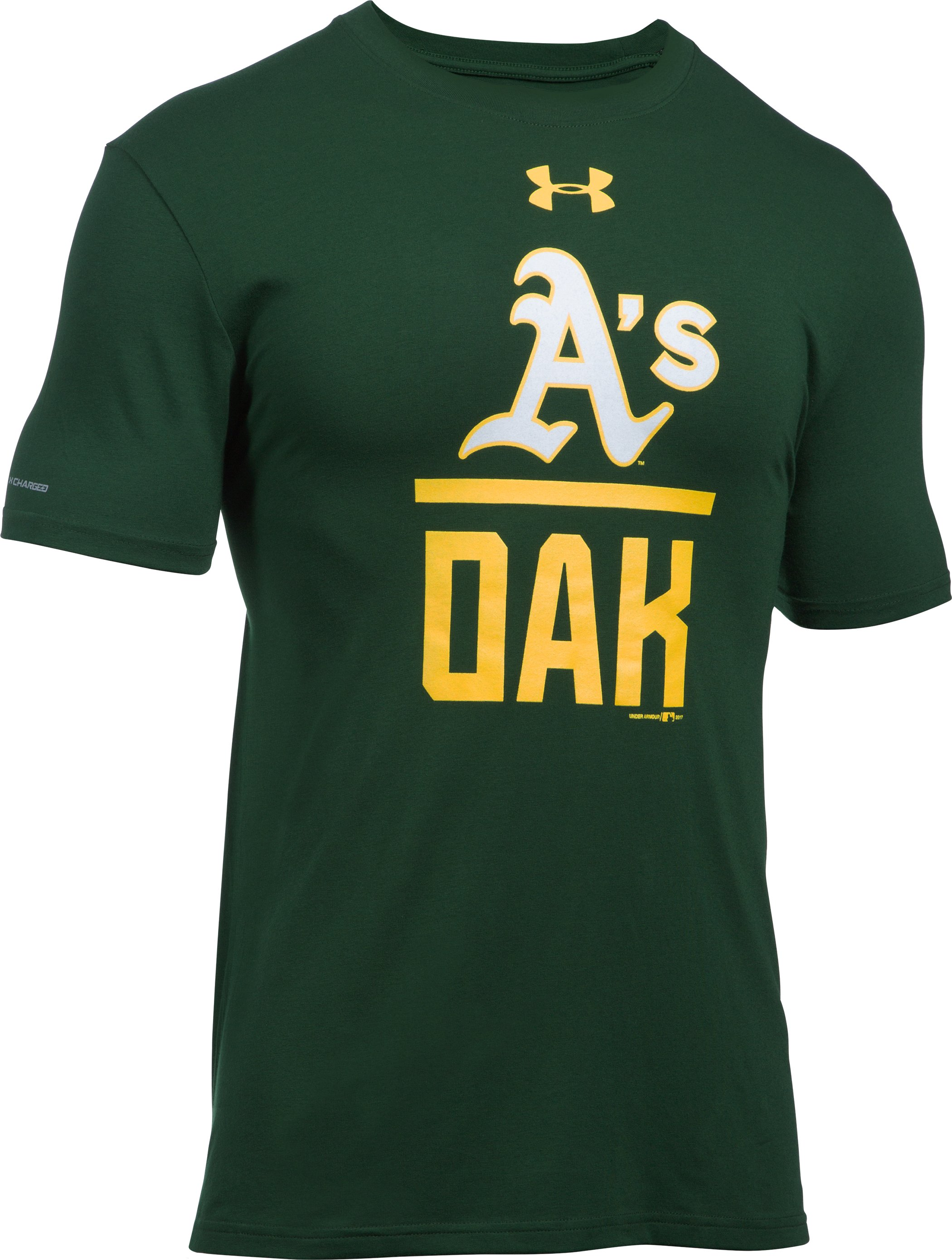 Men's Oakland A's Lockup T-Shirt, Forest Green, undefined