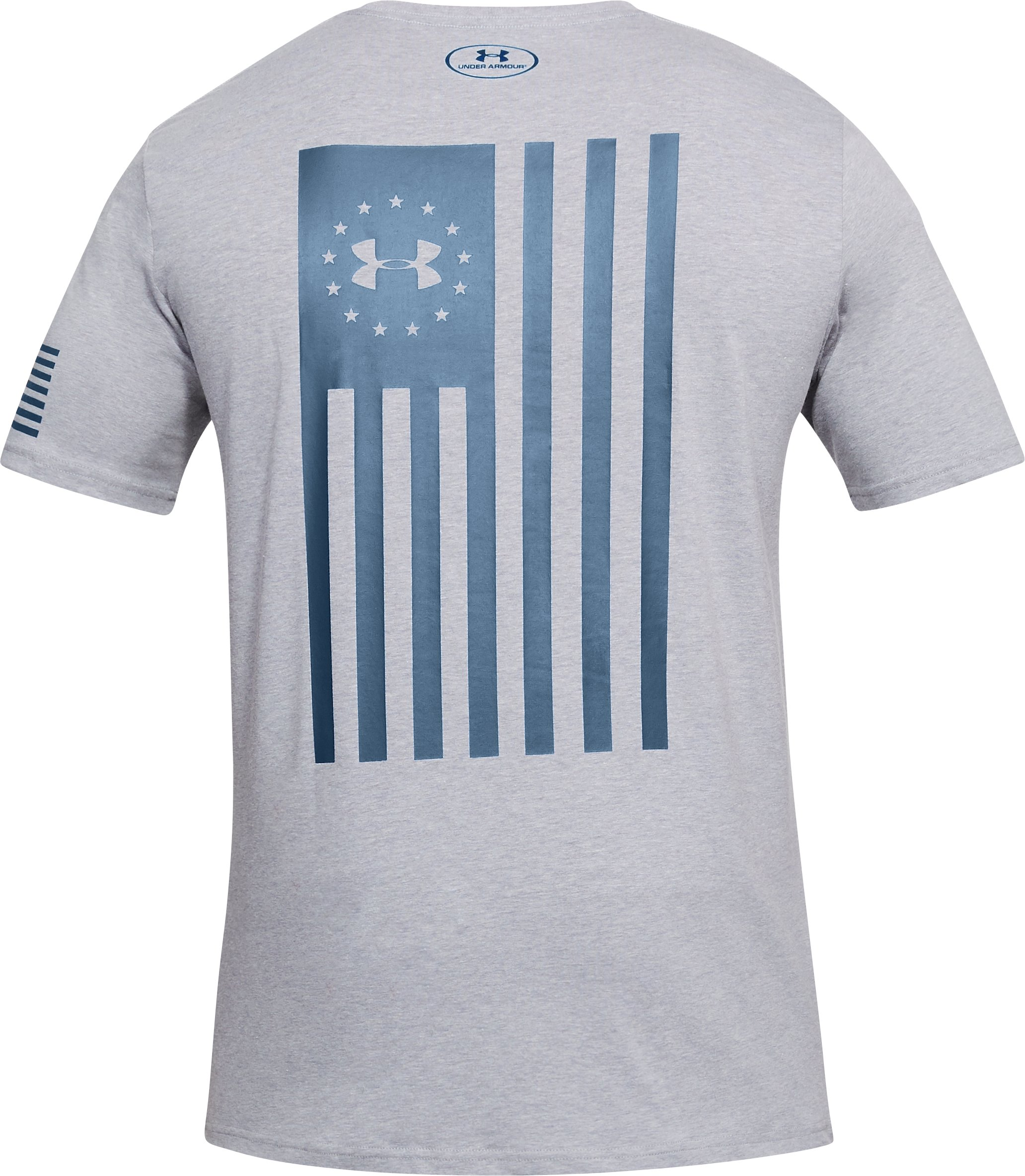 Men's UA Freedom Flag Bold T-Shirt, STEEL LIGHT HEATHER,