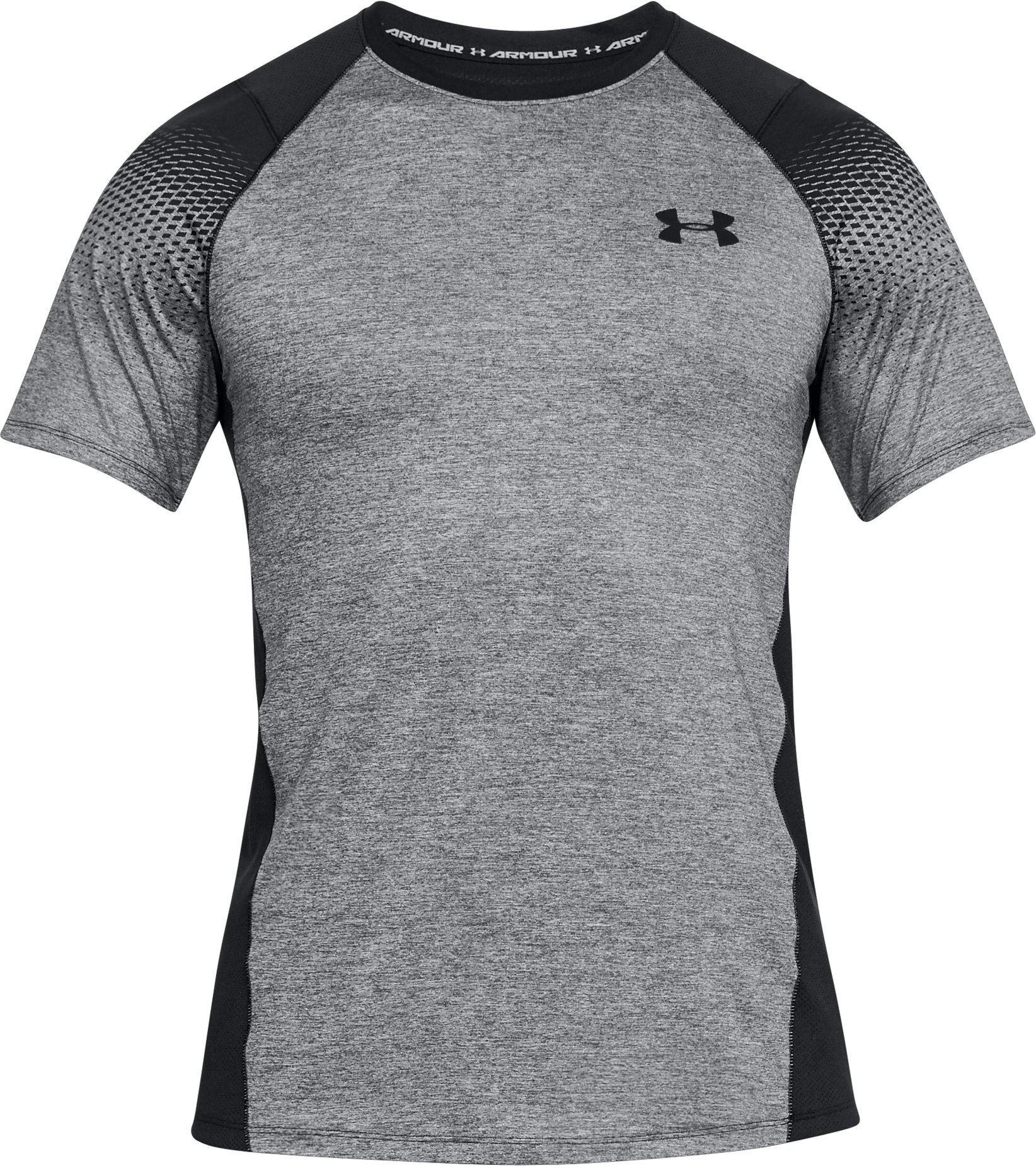 Men's UA MK-1 Dash Printed Left Chest Short Sleeve, BLACK LIGHT HEATHER,