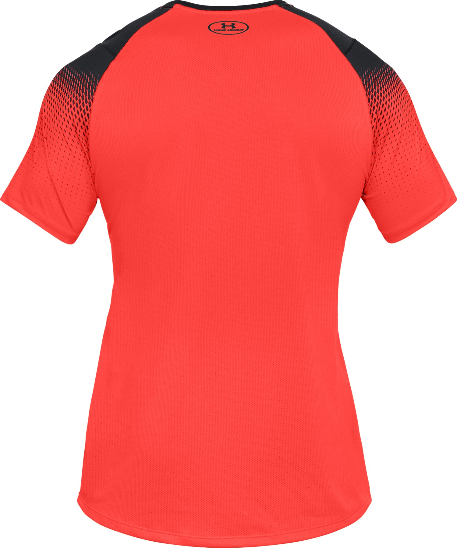 Men's UA MK-1 Dash Printed Left Chest Short Sleeve, NEON CORAL,
