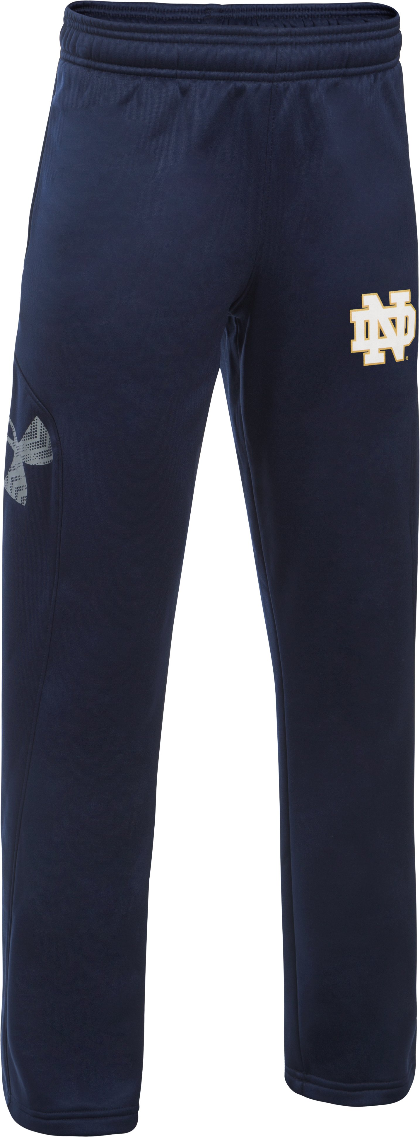 Boys' Notre Dame UA Big Logo Pants, Midnight Navy