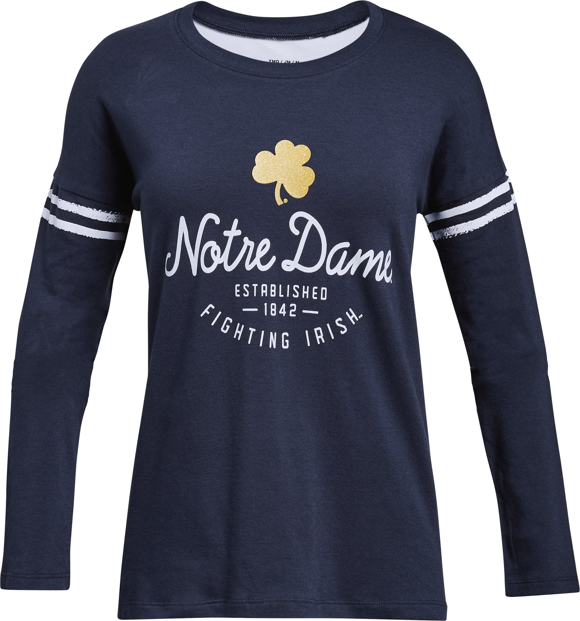 Girls' Notre Dame Long Sleeve T-Shirt, Midnight Navy, undefined