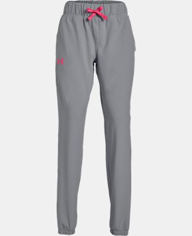 Girls' UA Woven Warm-Up Pants  1  Color Available $60