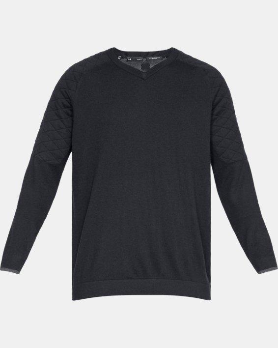 Men's UA Threadborne Hybrid V-neck, Black, pdpMainDesktop image number 4