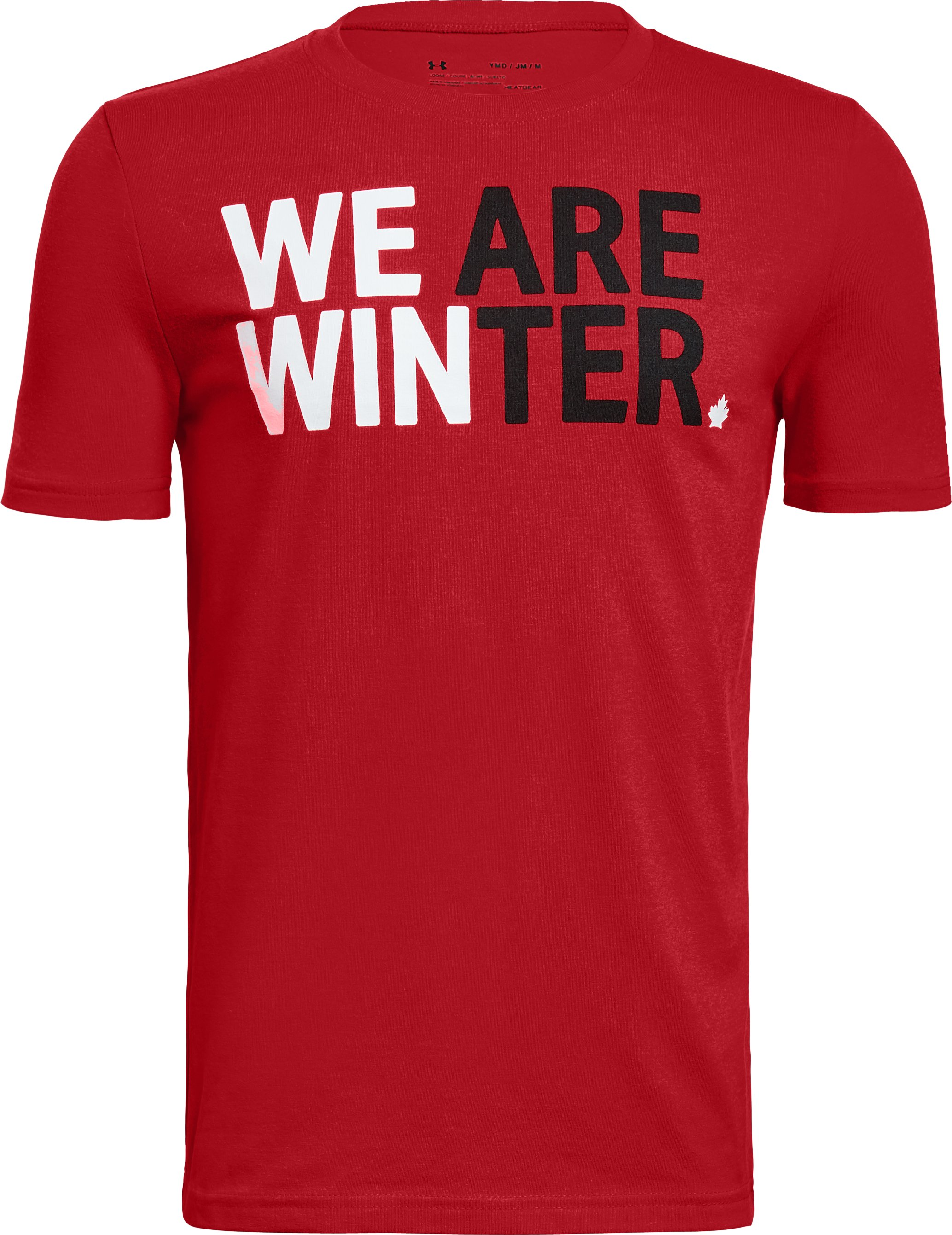 Boys' UA Team Canada Performance We Are Winter T-Shirt, Red, undefined