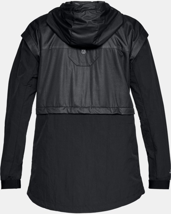Women's UA Unstoppable GORE® WINDSTOPPER® Rain Cape, Black, pdpMainDesktop image number 4