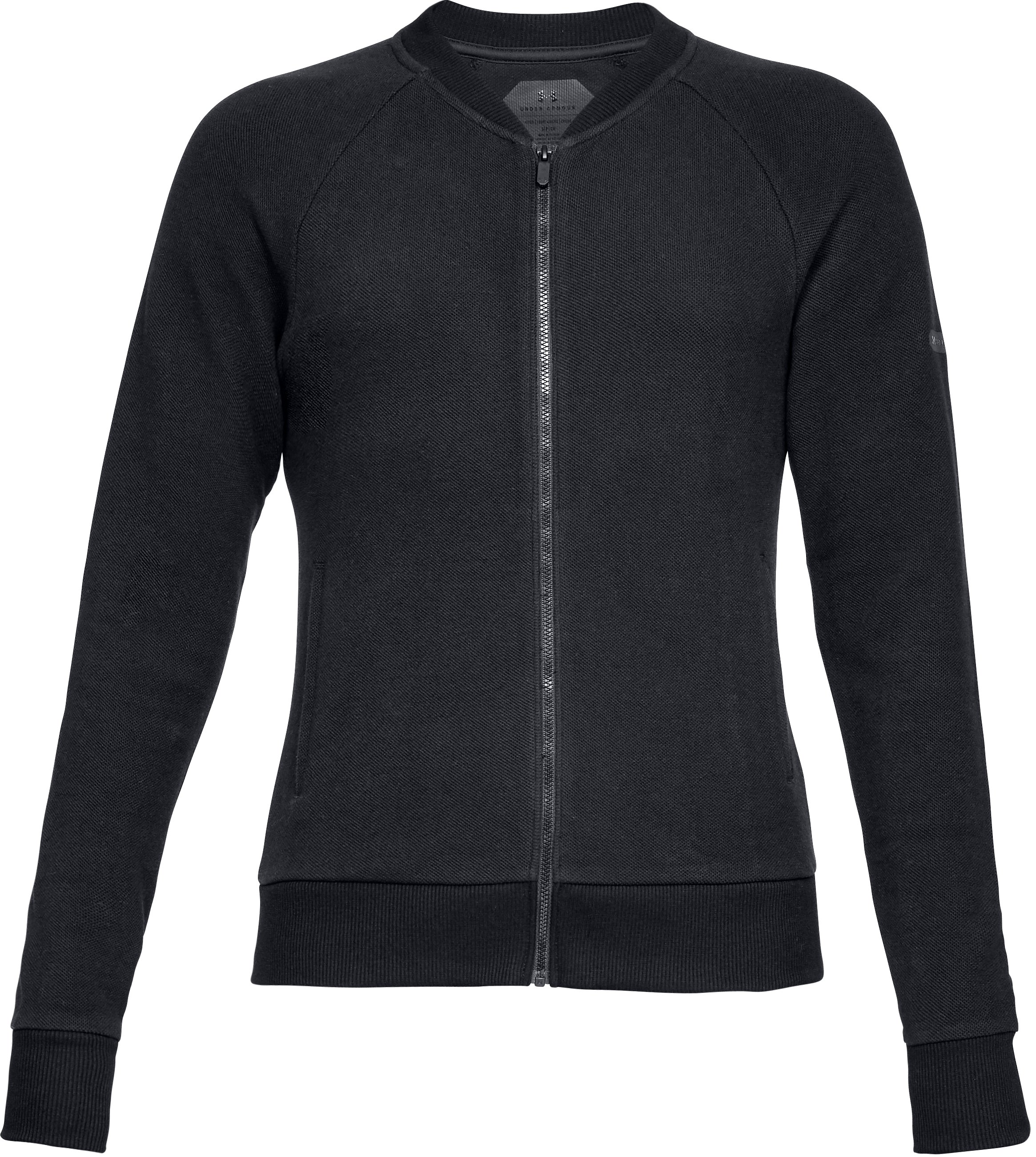 Women's UA Unstoppable Pique Full Zip, Black ,