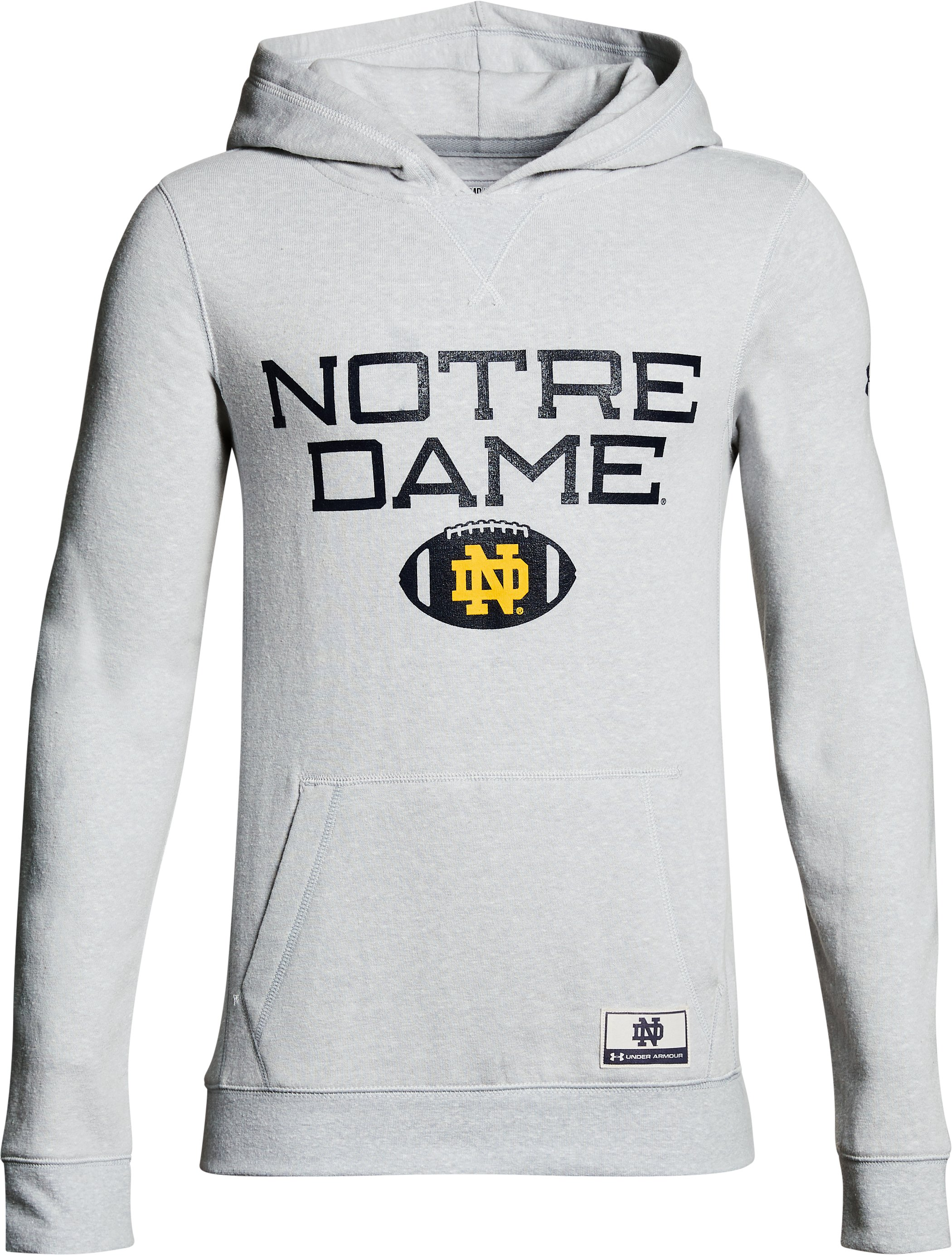 Boy's Notre Dame Iconic Hoodie, Gray, zoomed image