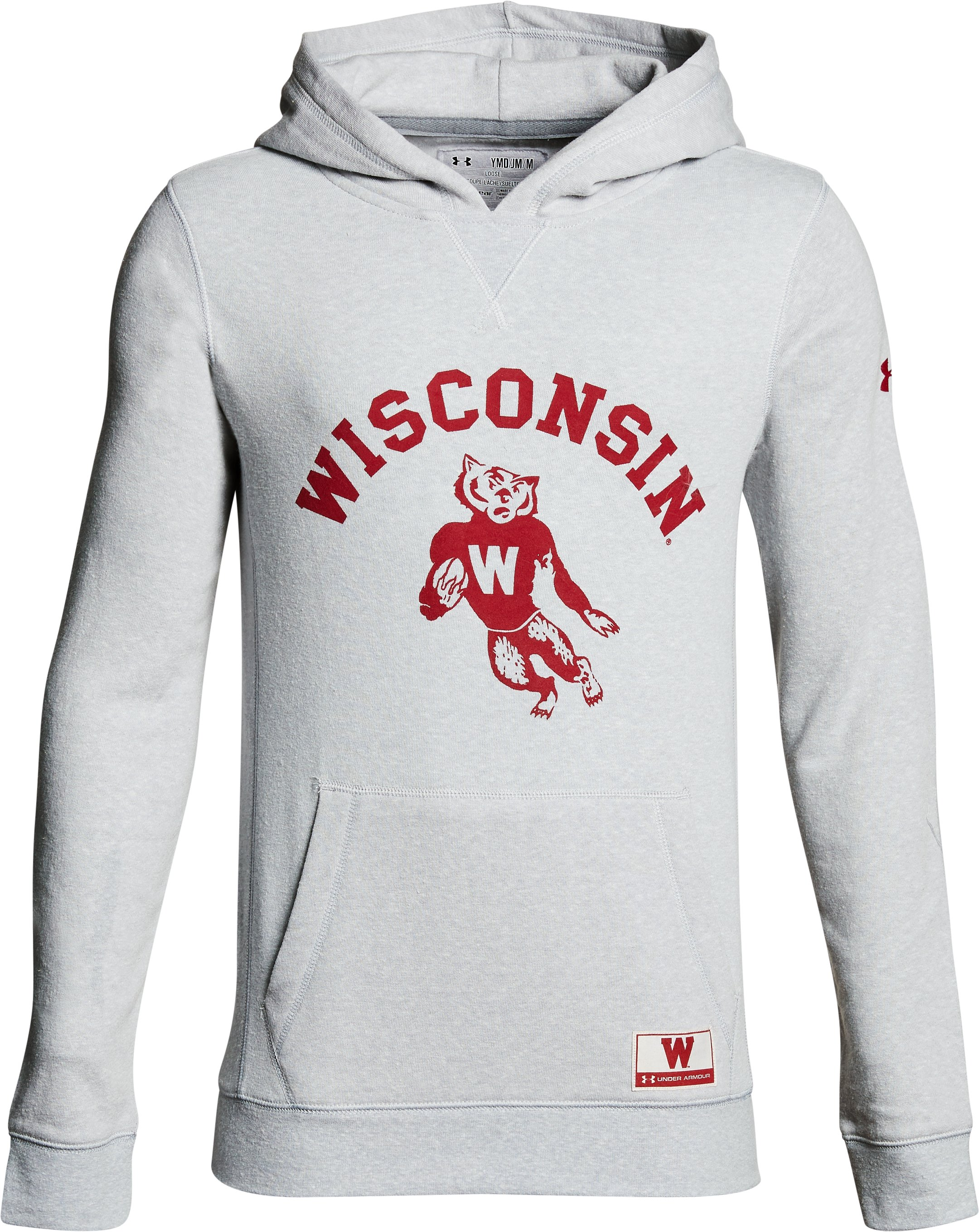 Boy's Wisconsin Iconic Hoodie, Gray, undefined