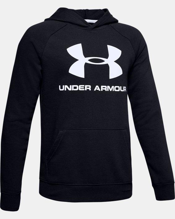 Boys' UA Rival Logo Hoodie, Black, pdpMainDesktop image number 4
