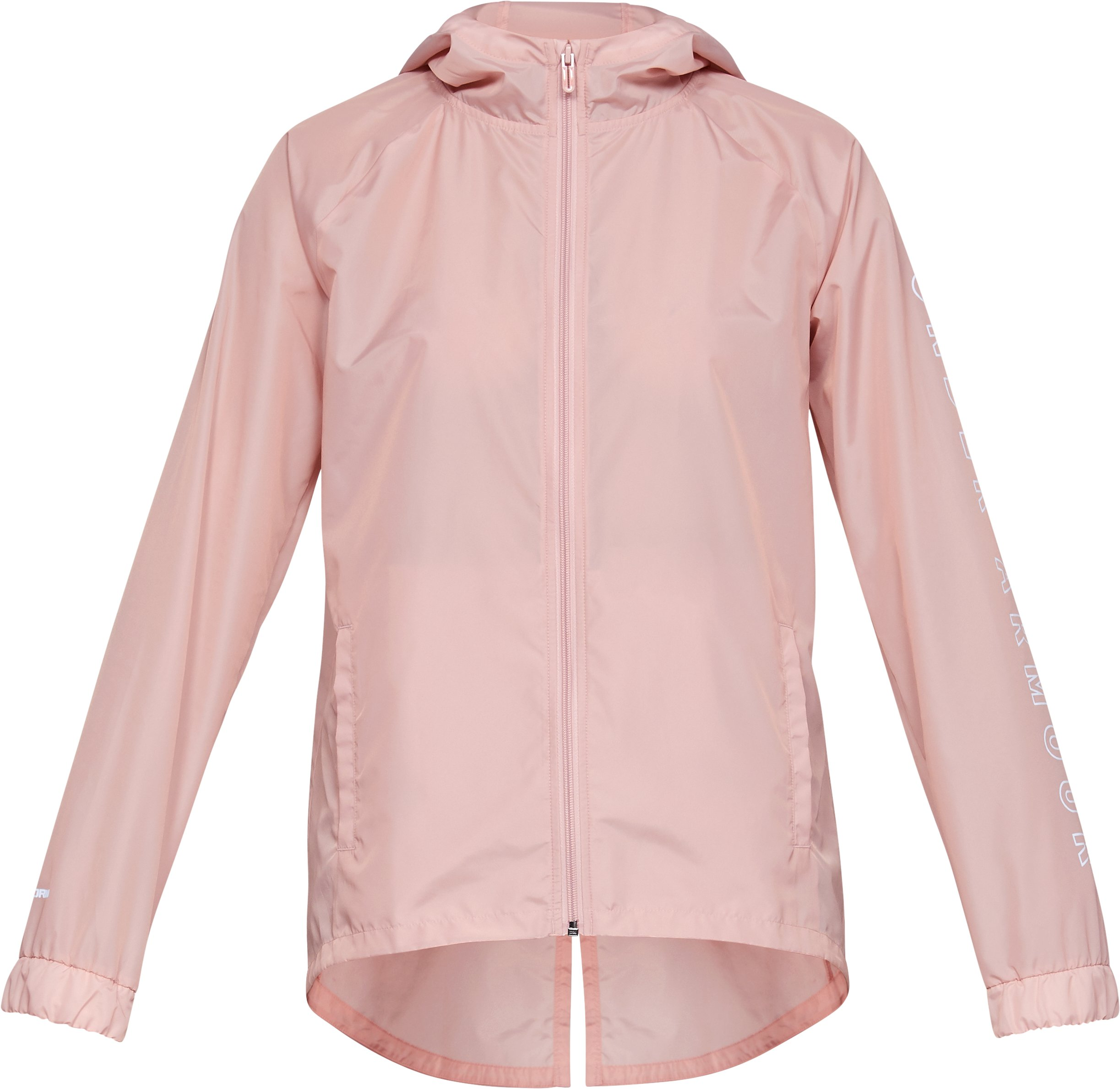 Women's UA Iridescent Woven Full Zip, Flushed Pink,