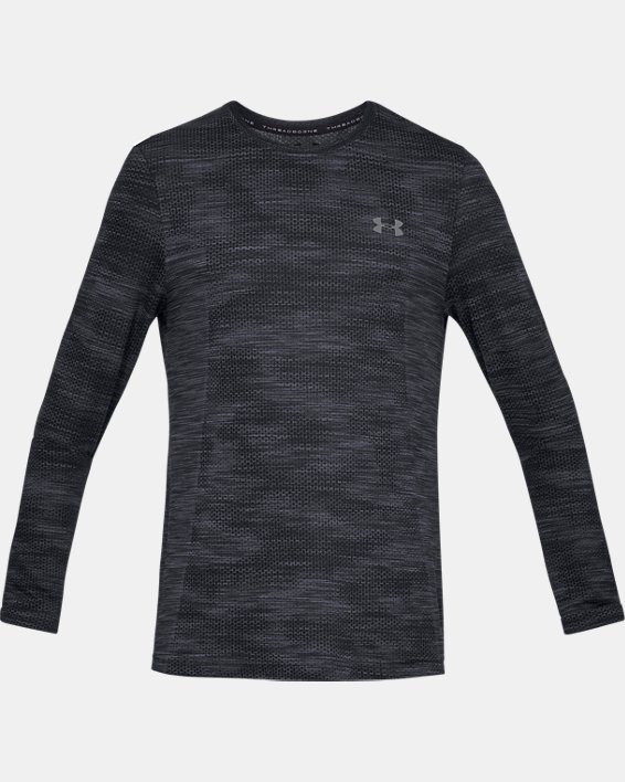 Men's UA Vanish Seamless Camo Long Sleeve, Black, pdpMainDesktop image number 4