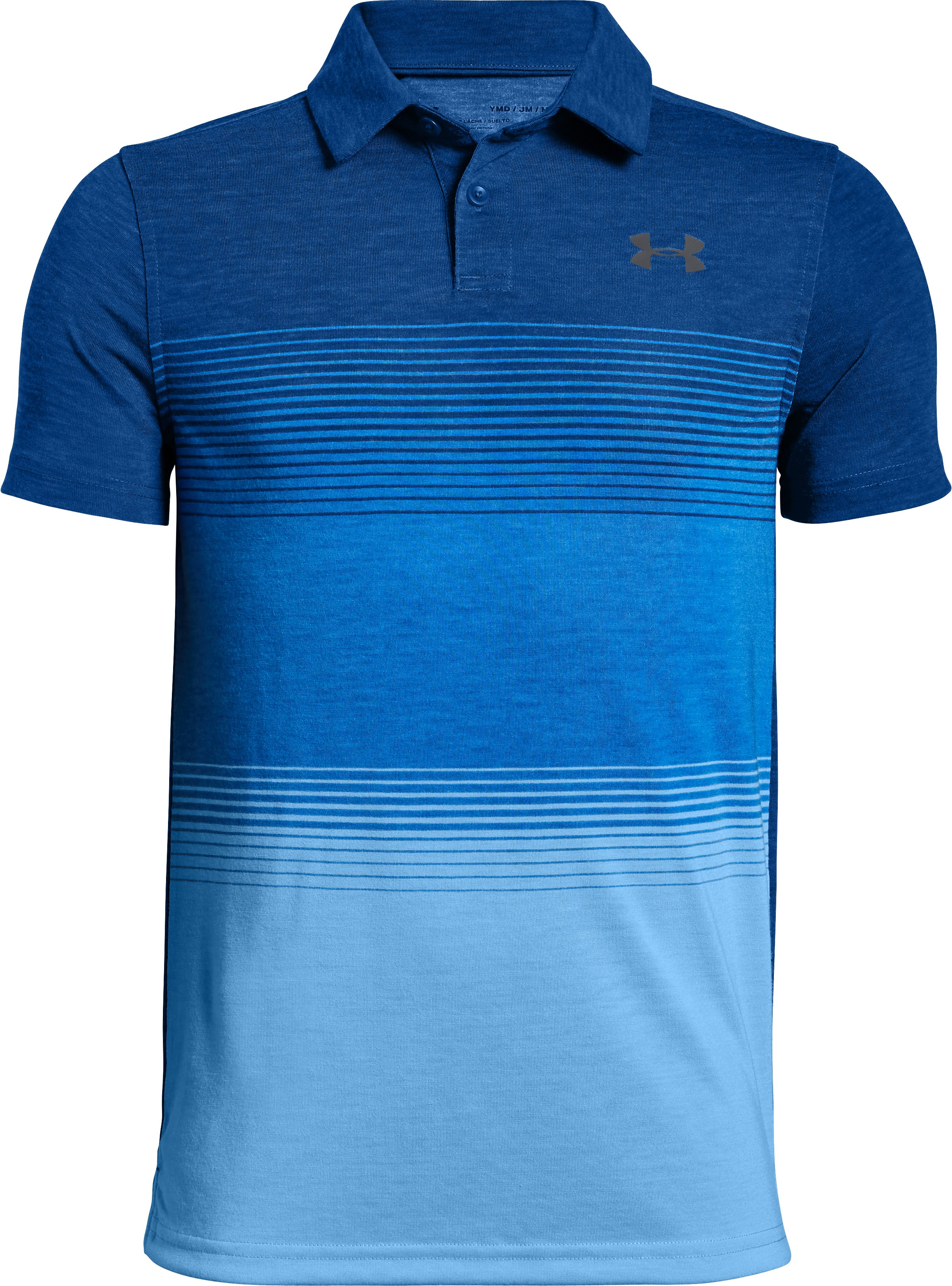 Boys' UA Jordan Spieth Threadborne Gradient Polo, Royal, zoomed