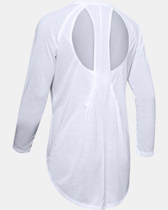 Women's UA Open Back Long Sleeve, White, pdpMainDesktop image number 4
