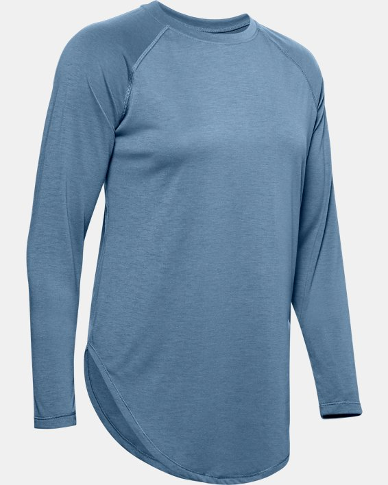 Women's UA Open Back Long Sleeve, Blue, pdpMainDesktop image number 3