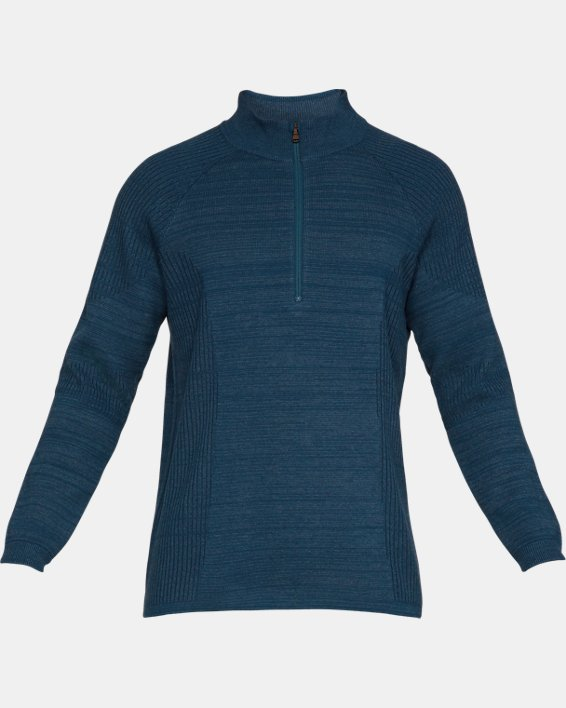 Men's UA Threadborne ½ Zip Sweater, Blue, pdpMainDesktop image number 4