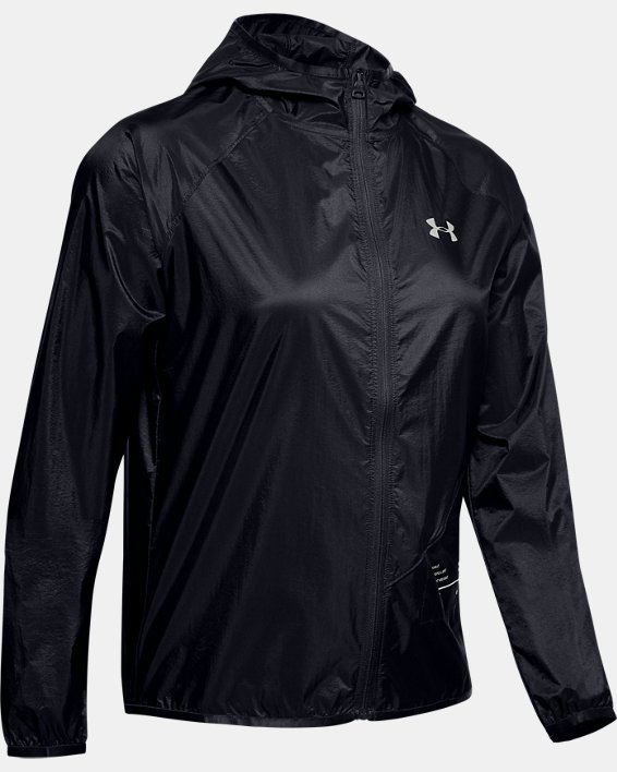 Women's UA Qualifier Storm Packable Jacket, Black, pdpMainDesktop image number 3