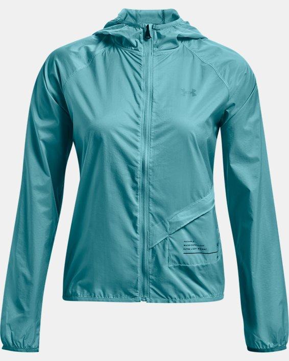 Women's UA Qualifier Storm Packable Jacket, Blue, pdpMainDesktop image number 3