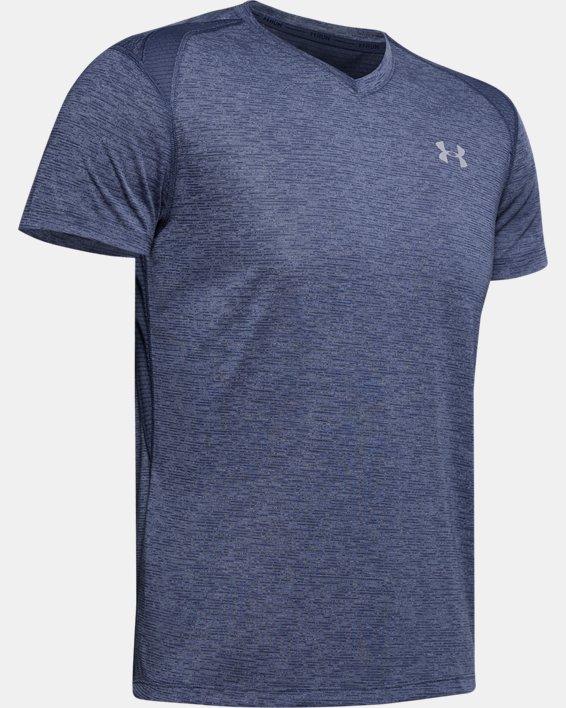 Men's UA Streaker V-Neck Short Sleeve, Blue, pdpMainDesktop image number 4