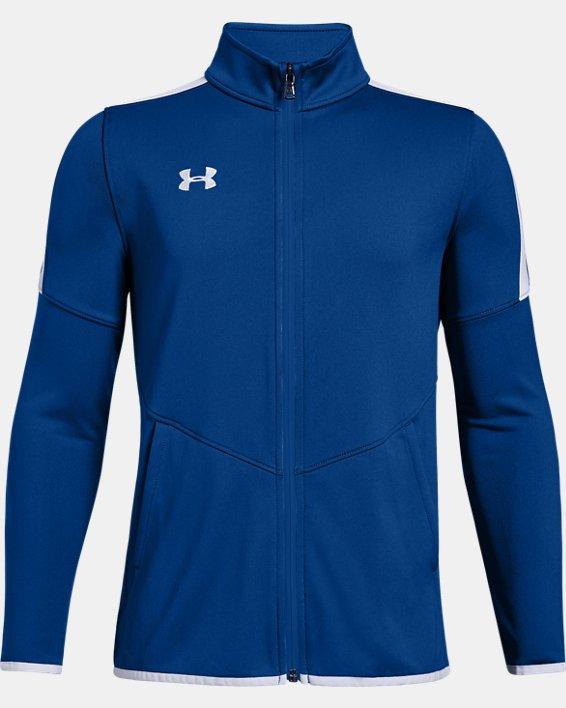 Boys' UA Rival Knit Jacket, Blue, pdpMainDesktop image number 0