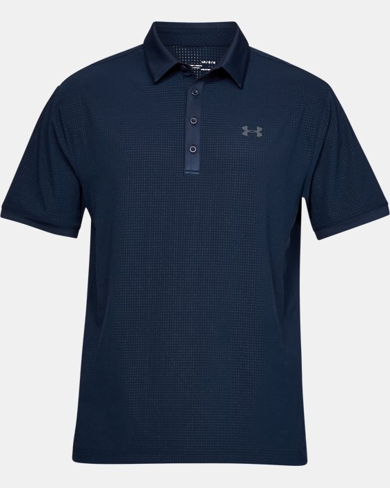 Polo UA Playoff Vented pour homme, Navy, pdpMainDesktop image number 3