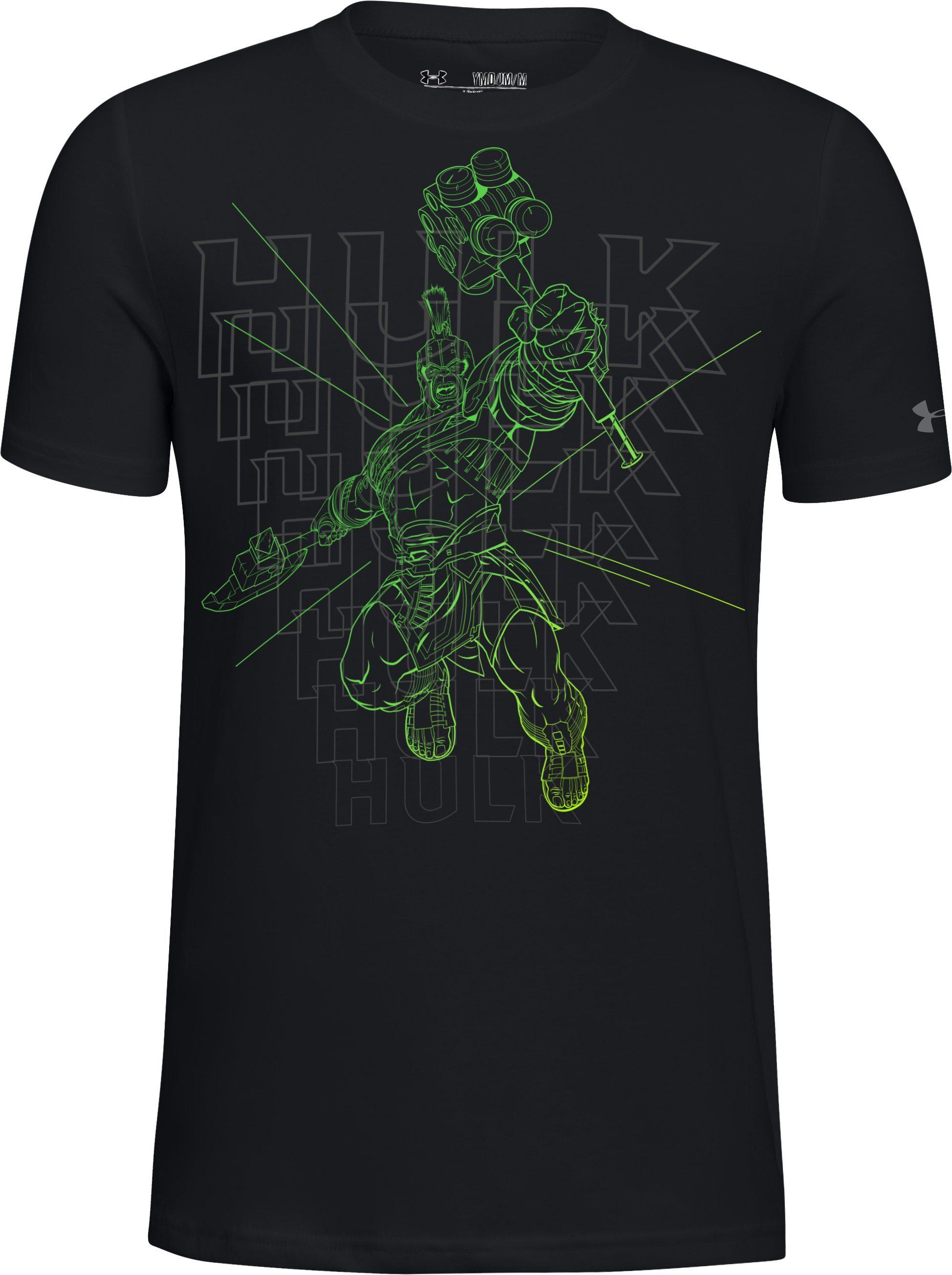 Boys' UA Linear Hulk T-Shirt, Black , undefined
