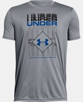 Boys' UA Rippled Duo Logo Short Sleeve T-Shirt  4  Colors Available $20