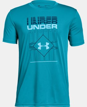 Boys' UA Rippled Duo Logo Short Sleeve T-Shirt  1  Color Available $20