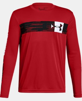 New Arrival Boys' UA Pixel Crossbar Long Sleeve T-Shirt FREE U.S. SHIPPING 1  Color Available $25