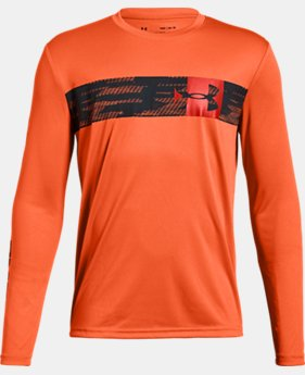 New Arrival  Boys' UA Pixel Crossbar Long Sleeve T-Shirt  5  Colors Available $30