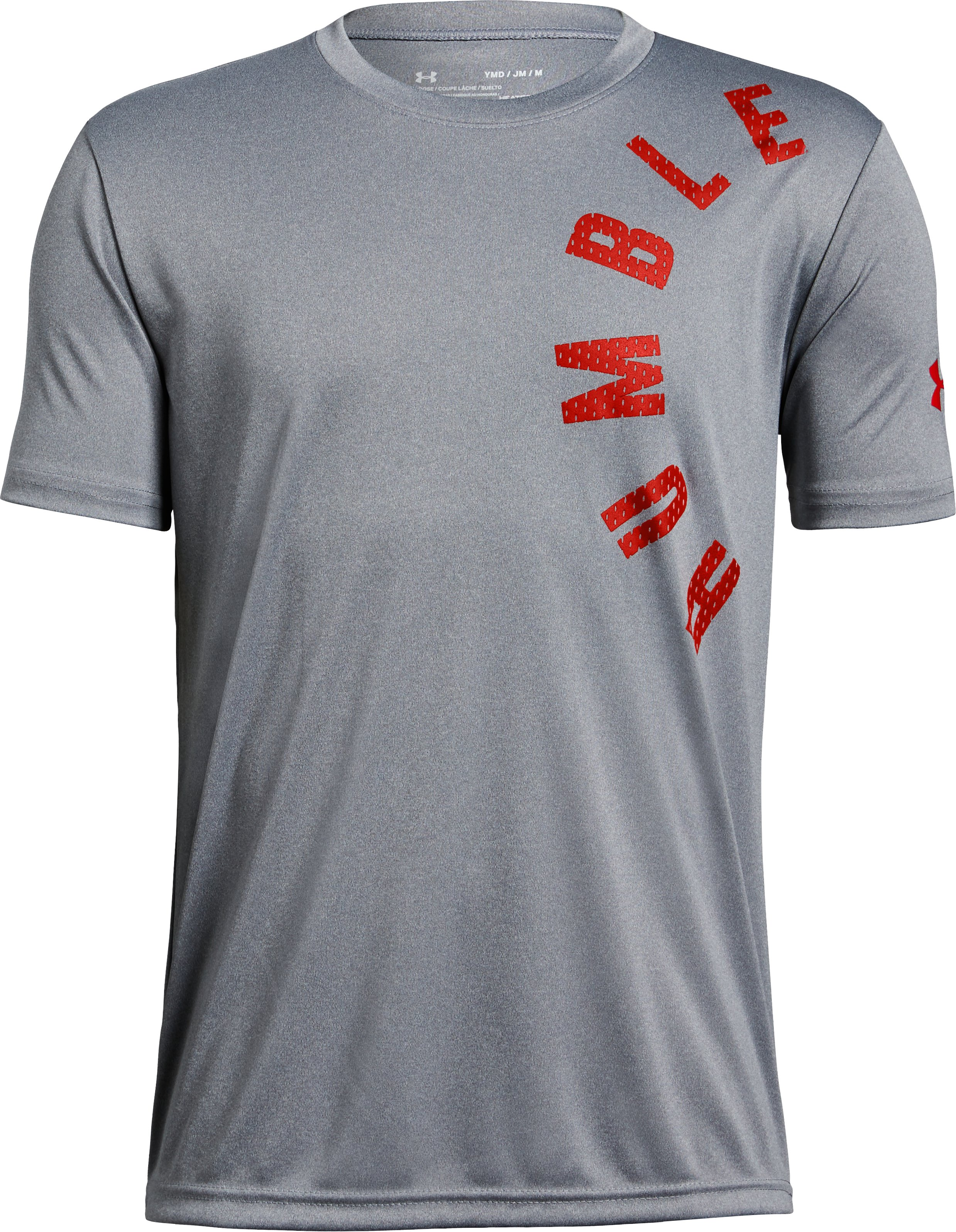 Boys' UA Humble & Hungry Short Sleeve T-Shirt, STEEL LIGHT HEATHER, zoomed