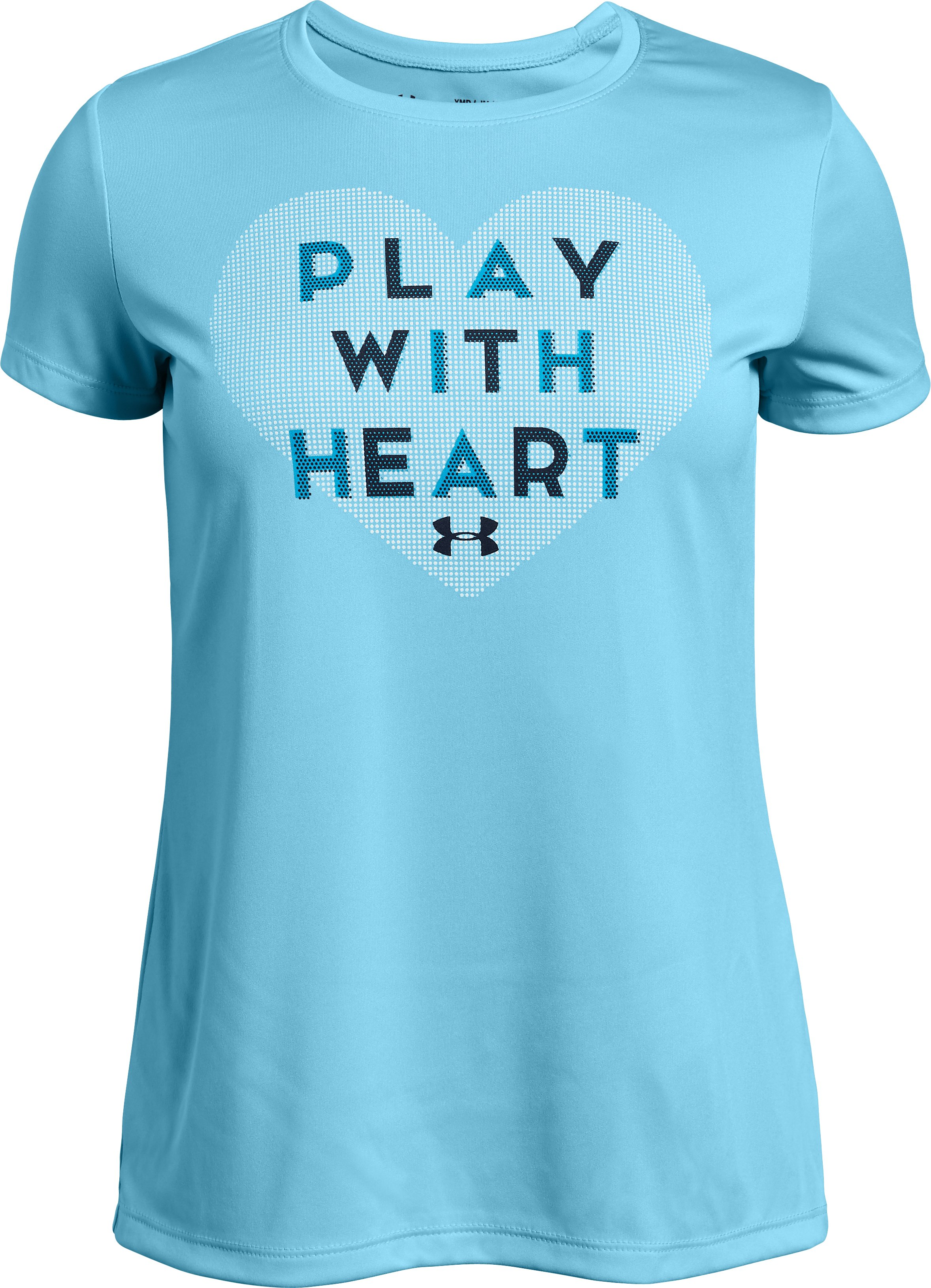 UA Play With Heart SS Tee, Venetian Blue, zoomed