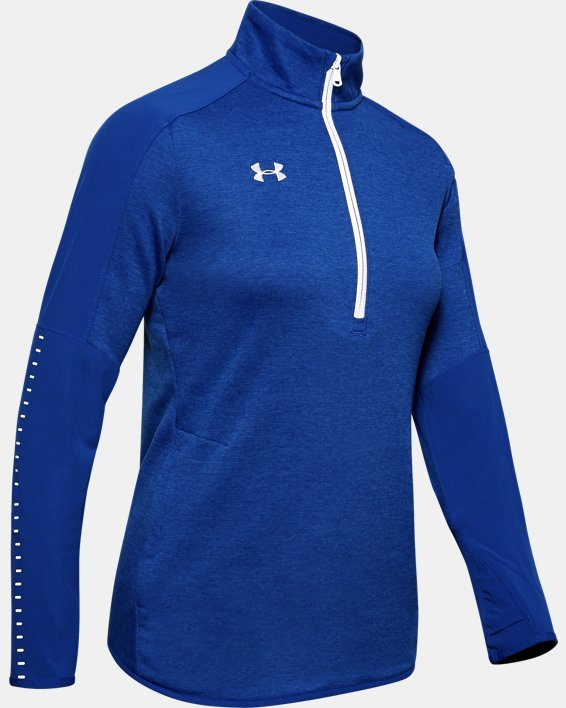 Women's UA Knit Warm-Up ½ Zip, Blue, pdpMainDesktop image number 4