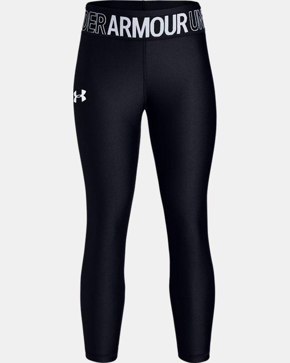 Girls' HeatGear® Armour Ankle Crop, Black, pdpMainDesktop image number 4