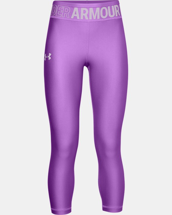 Girls' HeatGear® Armour Ankle Crop, Purple, pdpMainDesktop image number 0