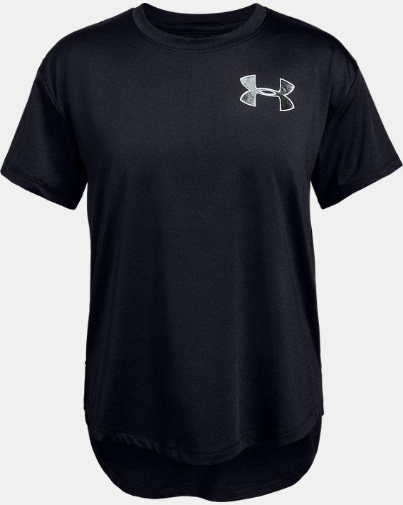 Girls' HeatGear® Armour Short Sleeve, Black, pdpMainDesktop image number 3