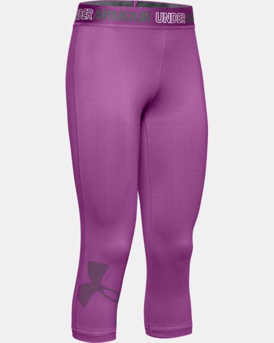 Girls' HeatGear® Armour Graphic Capris, Purple, pdpMainDesktop image number 0