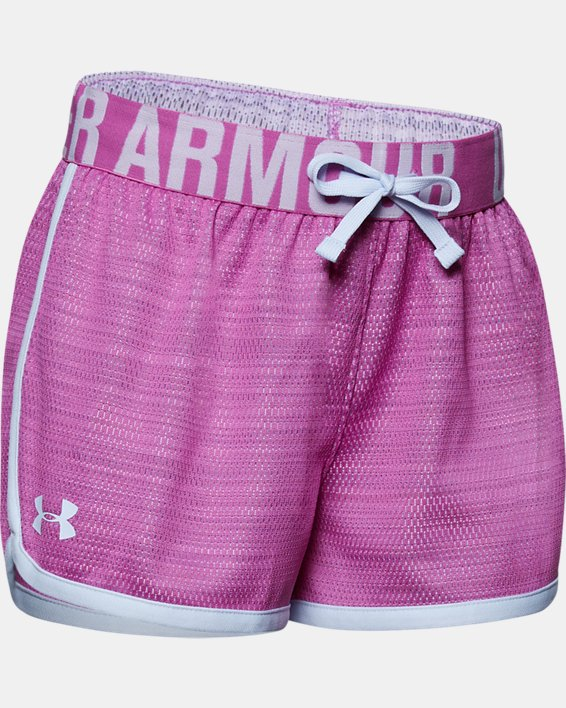 Girls' UA Play Up Mesh Shorts, Purple, pdpMainDesktop image number 0