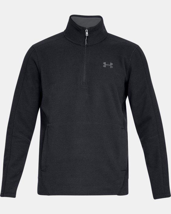 Men's UA OffGrid Fleece Solid ¼ Zip, Black, pdpMainDesktop image number 3