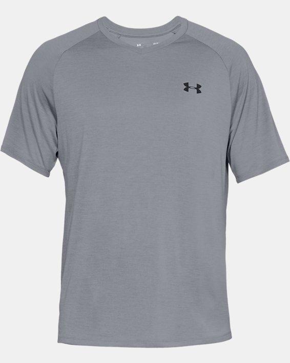 Men's UA Tech™ V-Neck Short Sleeve, Gray, pdpMainDesktop image number 3