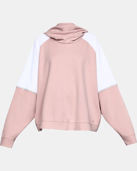 Women's UA Unstoppable Double Knit Oversize Hoodie, Pink, pdpMainDesktop image number 4