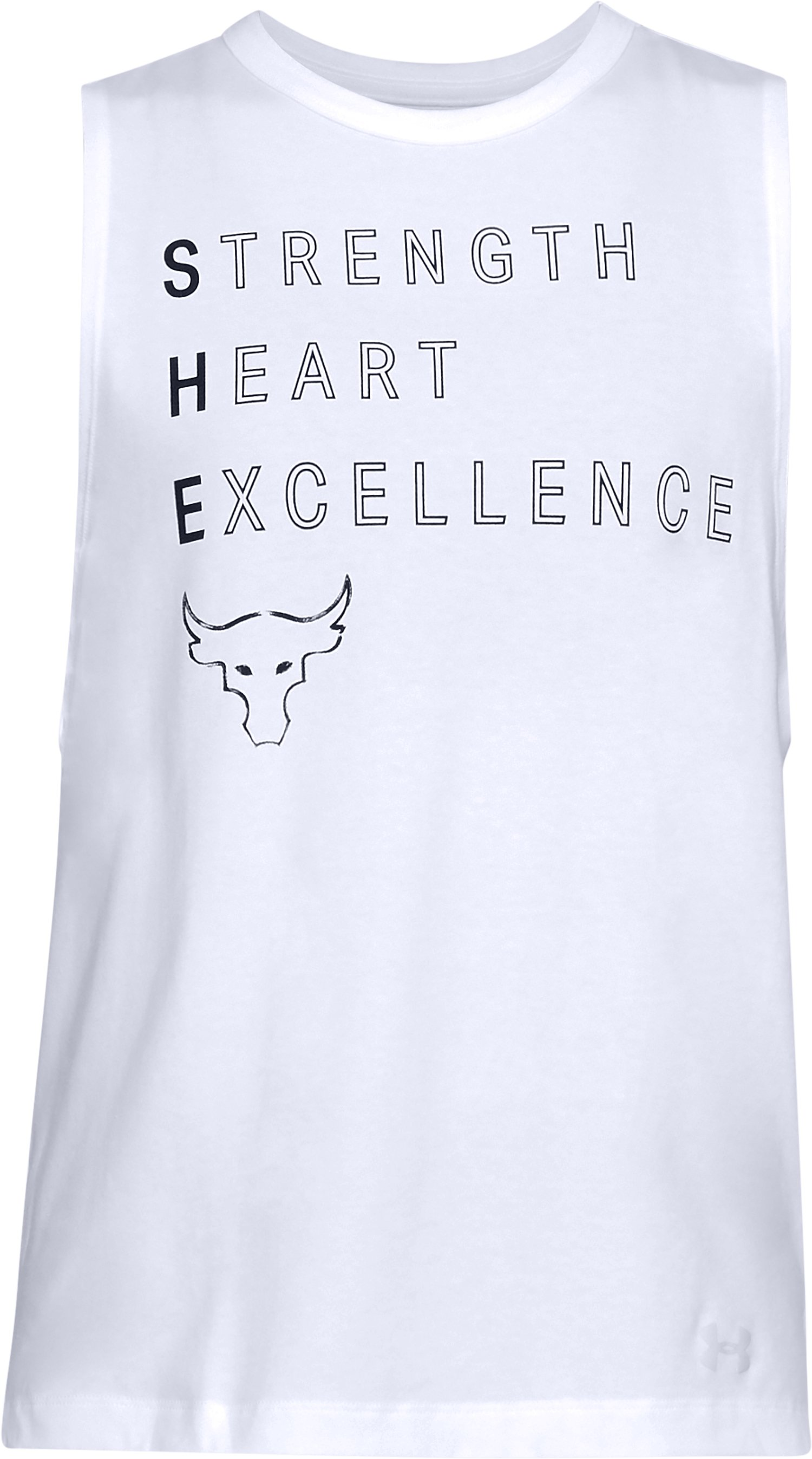 Women's UA x Project Rock Rock Motto Muscle Tank, White, undefined