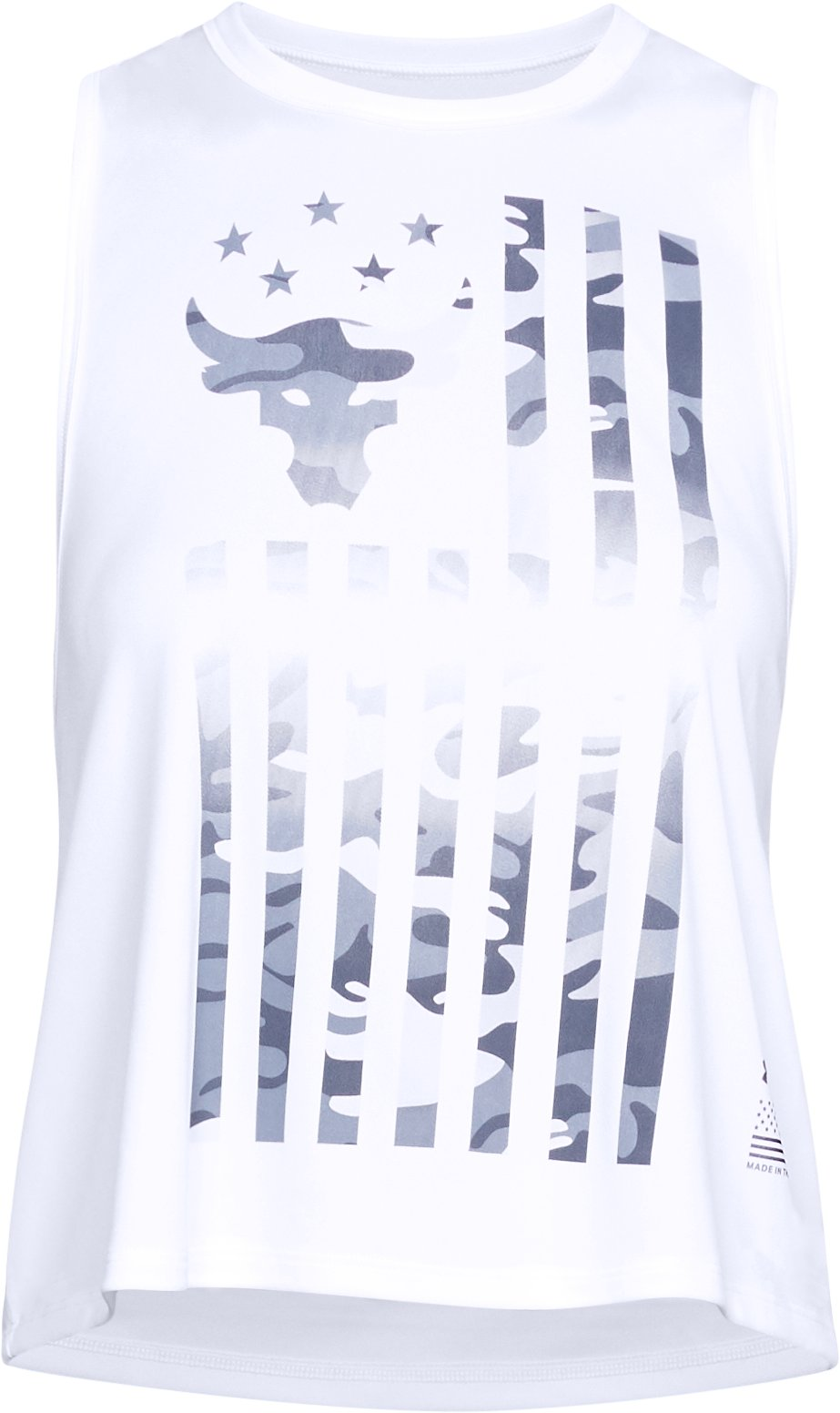 Women's UA x Project Rock Flag Twist Back Tank, White, undefined