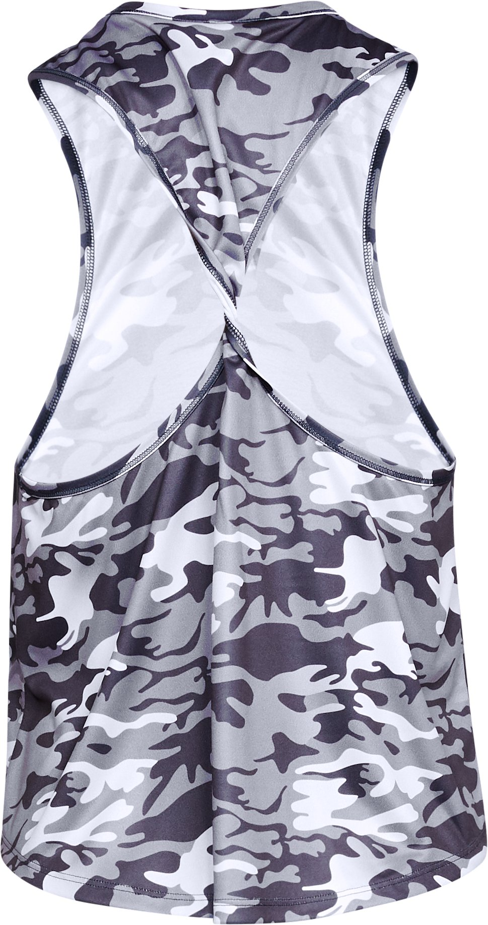 Women's UA x Project Rock Camo Twist Back Tank, White,