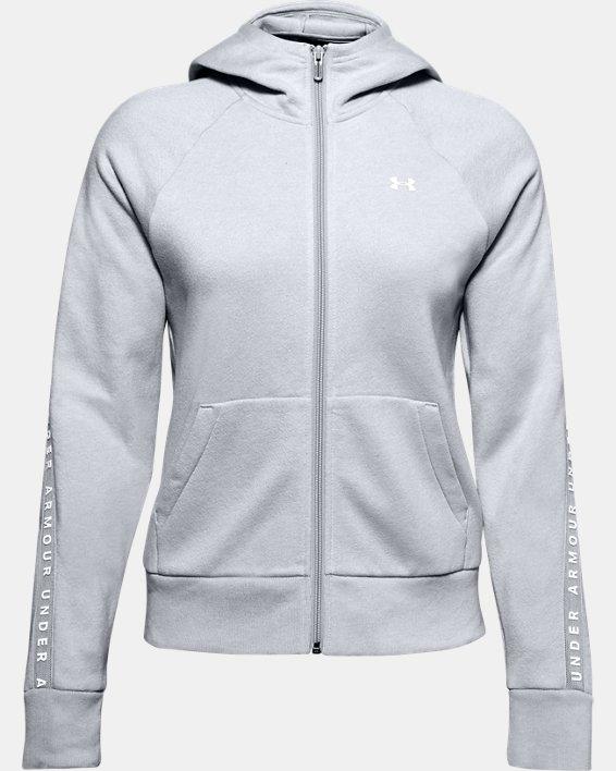 Women's UA Taped Fleece Full Zip, Gray, pdpMainDesktop image number 3