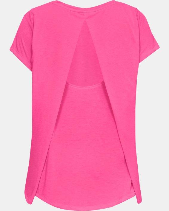 Women's UA Whisperlight Short Sleeve Foldover, Pink, pdpMainDesktop image number 4