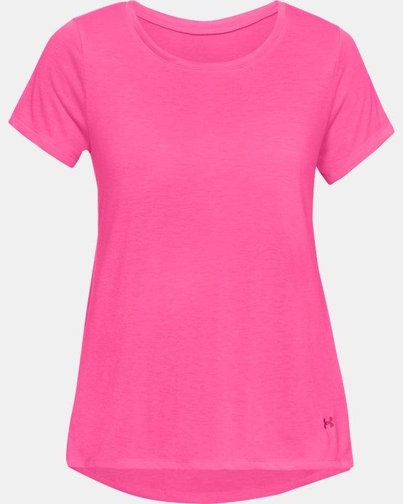 Women's UA Whisperlight Short Sleeve Foldover, Pink, pdpMainDesktop image number 3